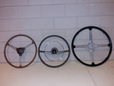 3 English classic car steering wheels - Triumph, Vauxhal and Brookland