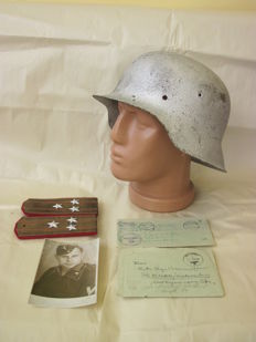 Set original german helmet M 42 WW2,german military leters and images, russian shoulder straps