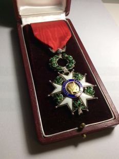 Knight's cross of the Legion of honour luxury model bulging, palm in relief - silver and gold
