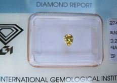 0.22 ct Pear Brilliant Fancy Intense Yellow SI2