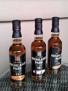 3 bottles - Highland Park 12 years old, 18 years old, 25 years old (3 x 33.3 cl)