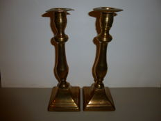 two red copper candlesticks, 19th century
