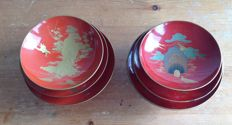Two beautiful sets of three differently sized lacquer sakazuki bowls - Japan - approx. 1920