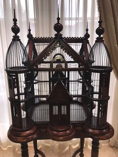 Beautiful and decorative mahogany bird cage, 20th century
