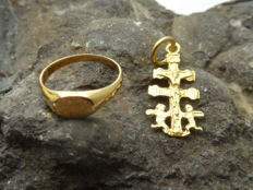 Pendant and Ring 18 kt Gold