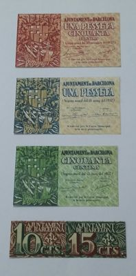Spain - Complete series of banknotes from Barcelona from the year 1937. The denominations are 5: 1.50 and 1 pesetas, and 50, 15 and 10 céntimos