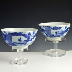 Two blue and white porcelain bowls - China - 19th century