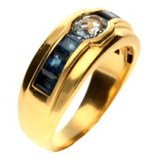 18 kt Yellow gold ring with Aquamarine & Blue Sapphire