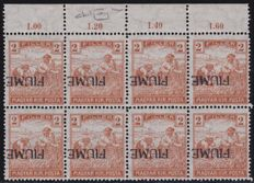 Fiume 1918/1919 - Harvesters, block of 8 specimens, upside down overprint variant - Sass. No. 4a