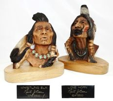 Two Indians statues, signed and numbered, NEIL J. ROSE limited edition