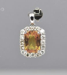 14k White Gold - Yellow Sapphire 4.07ct - Diamond 0.75ct