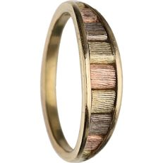 14 kt - Tricolour yellow/white/rose gold ring - Ring size: 17.25 mm