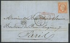 France 1866 – Letter from Constantinople by the steamer Menzaleh, signed Jamet – Yvert n° 23