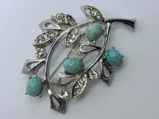 Sterling silver Turquoise branch leaves brooch pin