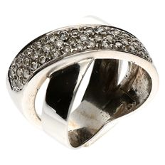 14 kt White gold wavy ring set with brilliant cut diamond, 0.80 ct