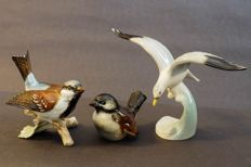 Goebel porcelain - 2 Sparrows and 1 seagull
