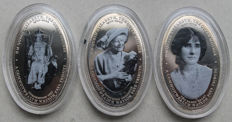 Sambia – 1000 Kwacha 2000 'Biography of The Queen Mother – H.M. Queen Elizabeth' (3 coins) in set