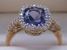 Certified gold cocktail ring with diamonds and amethyst - 1.90 ct **No reserve**