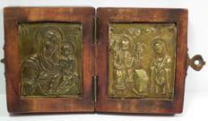 2-piece travel icon - bronze, wood - likely from Greece 18th/19th century.