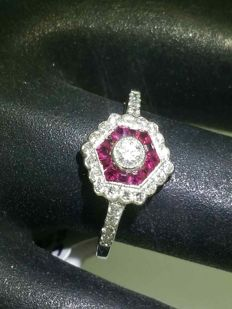 Ring with diamonds of 0.60 ct and calibrated rubies of 0.30 ct - Ring size 55