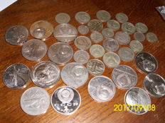 Russia – 62 diverse roubles and copecks, incl. silver ones.