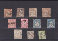 Switzerland, 1854-1862 - small batch seated Helvetia