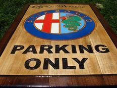 Alfa Romeo PARKING ONLY  Large unique handmade sculpting logo made from wood - 41,5 cm x 61 cm