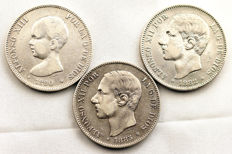 Spain - Alfonso XII and XIII - Lot 5 Silver Pesetas - 1882, 1885*87MPM, 1890*90PGM - Madrid