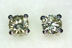18 kt White gold stud earrings with diamonds of approx. 0.50 ct in total - NO RESERVE PRICE