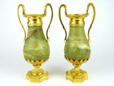 pair of Louis XVI style onyx and ormolu commode vases - France first half 20th century
