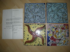 Salvador Dali - lot of four tiles in ceramics
