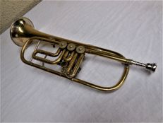 "Old brass flugelhorn with silver plating and engraving 3 ""JR40 1016"""