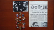 A dozen Interkosmos pins, newspaper, photo Soyuz-28