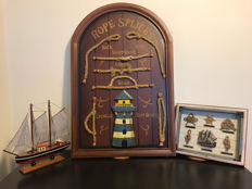 Two Nautical knots board displays (60 x 40 cm and 25 x 20 cm) with model sailing ship (24 x 23 cm)