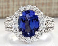 6.72 Carat Tanzanite and Diamond Ring in 14K White Gold - Size: 7 *** Free shipping *** No reserve *** Free resizing ***