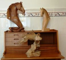 3 horse figurines - wood carving - horse heads