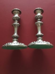 A pair of George 1V sterling silver candlesticks by John and Thomas Settle  (Sheffield 1824)