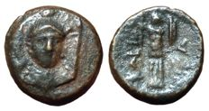 The Greek Antiquity - Southern Lucania, Herakleia ca. 281-278 BC - Æ (Copper, 14mm, 2,41g.) - Head of Athena / Trophy - HN Italy 1436; Van Keuren 143;