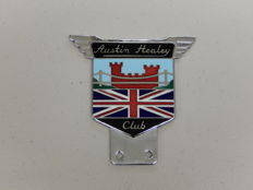 Vintage Chrome and Enamel Auto Car Badge Austin Healey Club United Jack Flag
