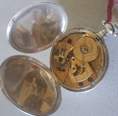 17. Fine silver pocket watch with engraved movement for China - duplex-escapement - England 1820