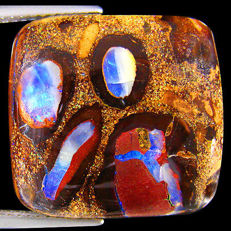 Beautiful Unique Neon Violet Flashy Australian Boulder Opal - 19.71 x 18.50 x 7.01 mm - 26.66 cts