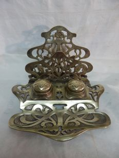 Art nouveau massive large bronze inkstand and letter double inkwell