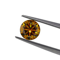 1.12 ct. Natural Fancy Deep Brownish Orangy Yellow Round Brilliant Cut Diamond, GIA Certified