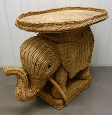 Wicker Decorative Elephant with Detachable Tray
