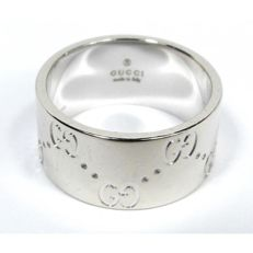 Gucci - Gucci 'Icon' ring in 18 kt white gold with double band - DImensions: 55 (IT) 15 (17 mm)
