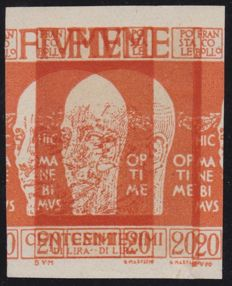 Fiume 1920 - 20 centesimi orange, double print, imperforated - Not catalogued