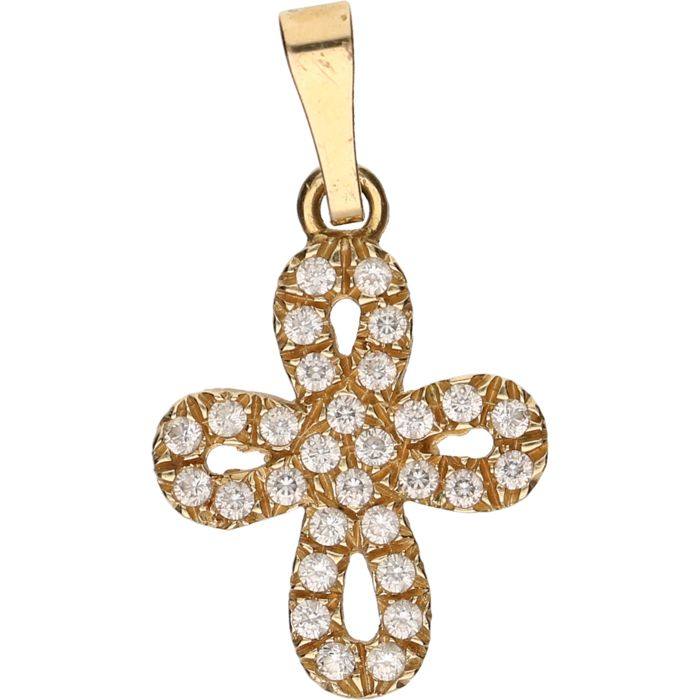 14 kt – Yellow gold pendant in the shape of a flower, set with 32 zirkonias – Length x width: 2.7 x 1.5 cm