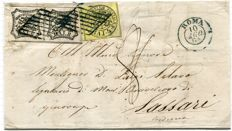 Papal State, 1864 - 4 baj, pair and 8 baj, on envelope from Rome to Sassari. Sass. no. 5A and 9