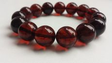 Baltic Amber beautiful red cherry coloured bracelet, 23 gr.