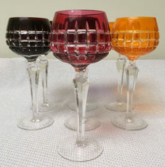 7 high, coloured crystal rummer glasses, late 20th century